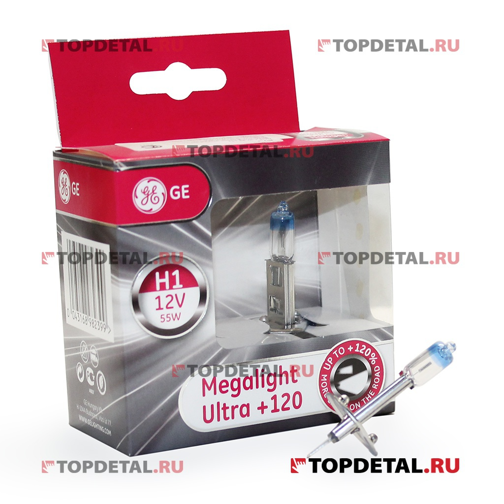 Лампа галогенная H1 12В 55 Вт Р14,5s General Electric Mega Light Ultra+120%(блистер 2 шт)
