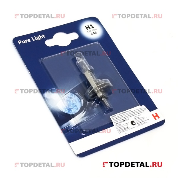 Лампа галогенная H1 12В 55 Вт P14,5s STANDART Pure Light BOSCH (блистер)