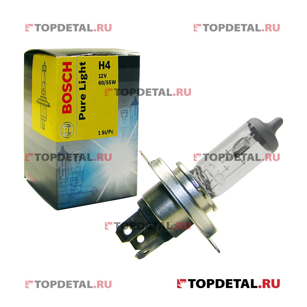 Лампа галогенная H4 12В 60/55Вт  P43t STANDART Pure Light BOSCH