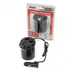 """Разветвитель прикуривателя двойник с USB RM186 """"RedMark"""" (черный)"""