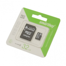 Карта памяти MicroSD 32GB Smart Buy Сlass 10+SD адаптер