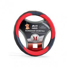 Оплётка руля AVS натуральная кожа (черно-красный) M GL-910M-BRD