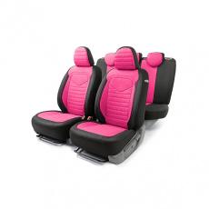 Чехлы на сиденье универсальные LINEN, лён крупного плетения, черный/темно розовый