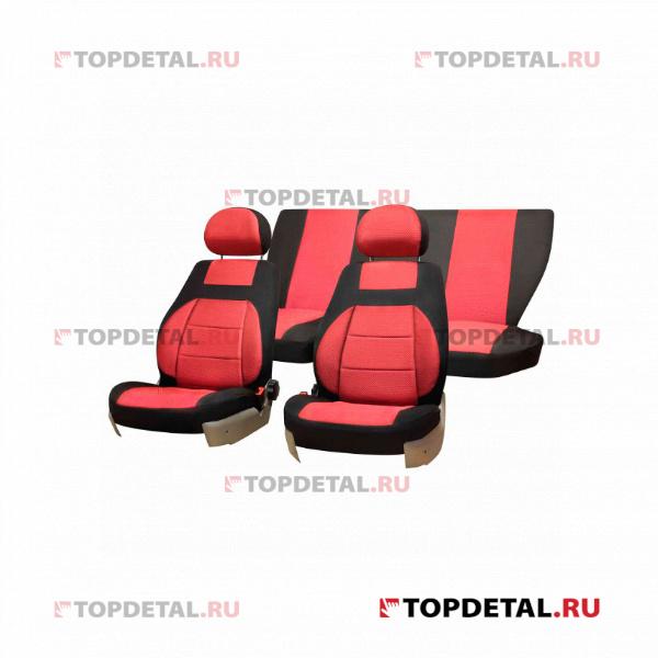 Чехлы сиденья LADA ВАЗ-2110 седан 1996-2007 Жаккард 12 предм. SKYWAY Красный купить в интернет-магазине Topdetal.ru